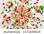 watermelon pizza with various... | Shutterstock . vector #1171648525