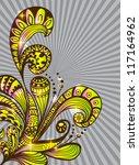 Doodle color floral background, illustration for your design - stock photo