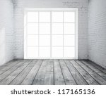 High resolution brick concrete room with window - stock photo