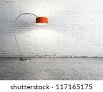 floor lamp in white brick room | Shutterstock . vector #117165175