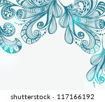 Romantic blue floral background, illustration for Valentine design, vector - stock vector