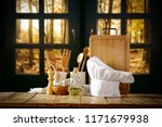 cook hat and autumn window  | Shutterstock . vector #1171679938