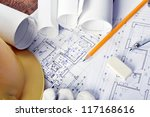 heap of design and project... | Shutterstock . vector #117168616