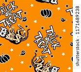 seamless halloween pattern with ... | Shutterstock .eps vector #1171689238