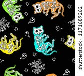 seamless halloween pattern with ... | Shutterstock .eps vector #1171689262