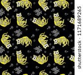 seamless halloween pattern with ... | Shutterstock .eps vector #1171689265