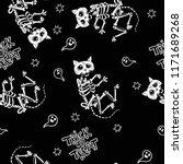 seamless halloween pattern with ... | Shutterstock .eps vector #1171689268