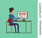 job search concept. man looking ... | Shutterstock . vector #1171694575
