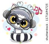 cute cartoon raccoon with... | Shutterstock .eps vector #1171694725