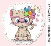 cute cartoon cat girl in pink... | Shutterstock .eps vector #1171694728