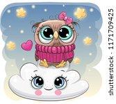 Stock vector cute cartoon owl is sitting a on the cloud 1171709425
