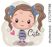 cute cartoon girl on a beige... | Shutterstock .eps vector #1171709788