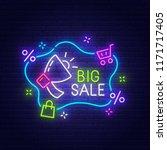 big sale neon sign  bright... | Shutterstock .eps vector #1171717405