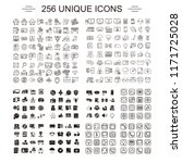 256 unique icons for everyday... | Shutterstock .eps vector #1171725028