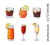 hand drawn cocktail in color.... | Shutterstock .eps vector #1171734148