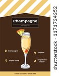 champagne cocktail recipe with... | Shutterstock .eps vector #1171734352