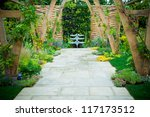 Tranquil Garden With A Fontain