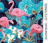 flamingo on a background .... | Shutterstock . vector #1171739032