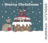 santa claus became entangled in ...   Shutterstock .eps vector #1171742665