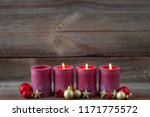 three candles decorated with... | Shutterstock . vector #1171775572