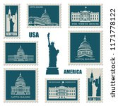 postage stamps set with... | Shutterstock .eps vector #1171778122