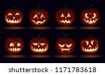 halloween carved pumpkin face... | Shutterstock .eps vector #1171783618