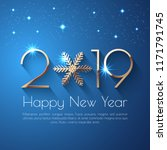 happy new year 2019 text design.... | Shutterstock .eps vector #1171791745