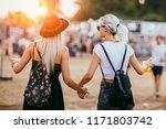 two female friends drinking... | Shutterstock . vector #1171803742