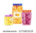 pineapple and peach jam set of... | Shutterstock .eps vector #1171823125