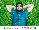carefree man with sunglasses...   Shutterstock . vector #1171829188
