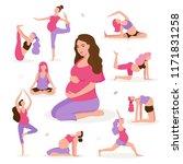 pretty pregnant woman doing... | Shutterstock .eps vector #1171831258
