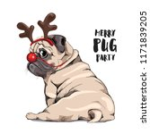 adorable beige puppy pug in a... | Shutterstock .eps vector #1171839205
