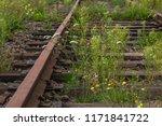 old rails  abandoned railway ... | Shutterstock . vector #1171841722
