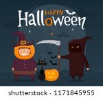 happy halloween. kids in... | Shutterstock .eps vector #1171845955