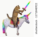 Stock photo the cat with a rainbow sword is riding the real unicorn white background 1171848922
