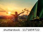 happy woman with open arms stay ... | Shutterstock . vector #1171859722