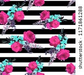 flowers and lines plaid fashion ... | Shutterstock . vector #1171861288