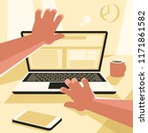 man opening or closing a laptop.... | Shutterstock .eps vector #1171861582
