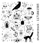 vector halloween icons. hand... | Shutterstock .eps vector #1171861585