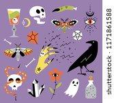 vector halloween icons. hand... | Shutterstock .eps vector #1171861588