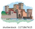 medieval stone fortress....   Shutterstock .eps vector #1171867615