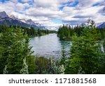 Mountain Ridge And Bow River...
