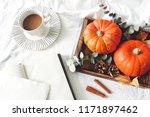 autumn breakfast in bed... | Shutterstock . vector #1171897462