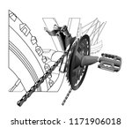 bicycle chain and sprocket... | Shutterstock .eps vector #1171906018