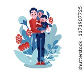 vector family hugging. adult... | Shutterstock .eps vector #1171907725