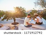 happy young couple of... | Shutterstock . vector #1171912792