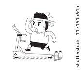 cartoon fat man running on... | Shutterstock .eps vector #1171915645