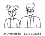 couple avatar characters icons   Shutterstock .eps vector #1171922365