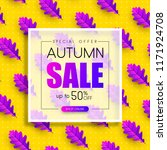 autumn sale. promo poster with...   Shutterstock .eps vector #1171924708