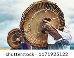 Stock photo shamanic drums in shamans hands ritual close 1171925122